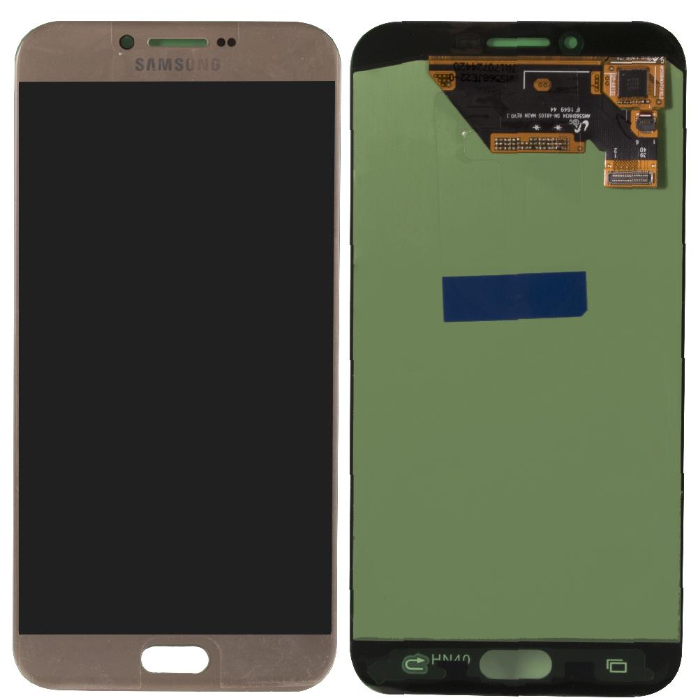 Samsung A8 2016 A810 Lcd Ekran Servis Gold Altın